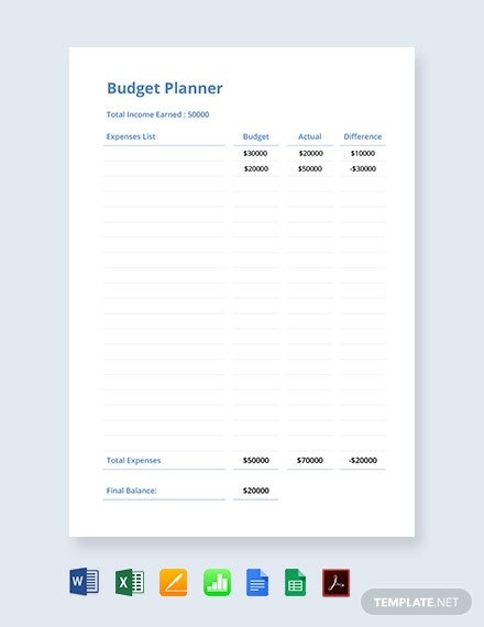 simple budget planner template in microsoft word excel apple pages