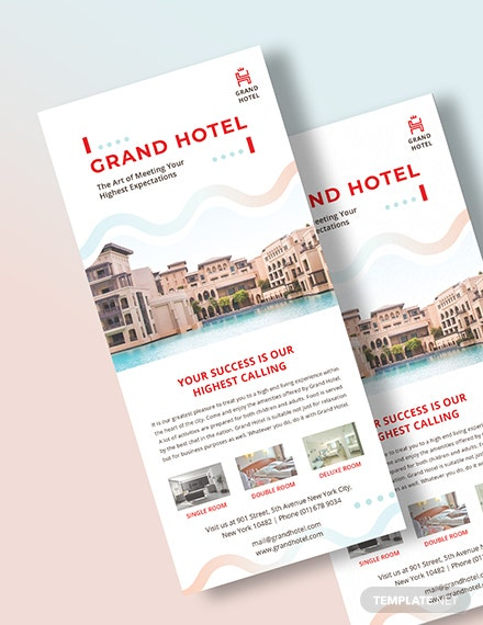 Grand Hotel Rack Card Template  - Illustrator, InDesign, Word, Apple Pages, PSD, PDF, Publisher