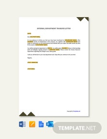 Free Internal Department Transfer Letter