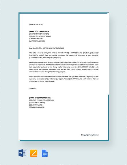 Free Internship Certificate Letter