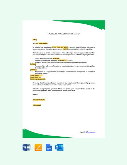 Free Sponsorship Agreement Letter
