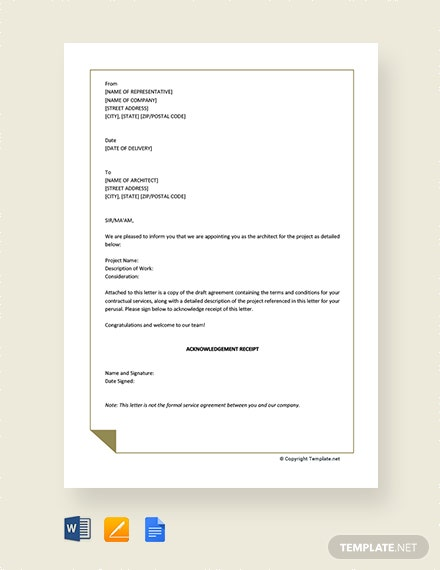 free standard architects appointment letter template