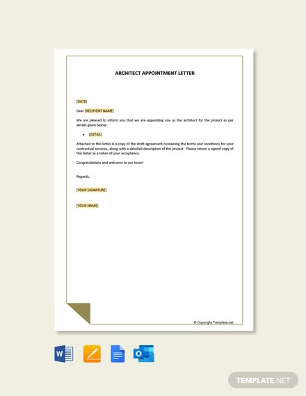 Free Standard Architects Appointment Letter