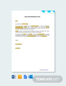 Free Sample Child Care Reference Letter