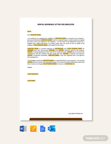 Free Rental Reference Letter from Employer