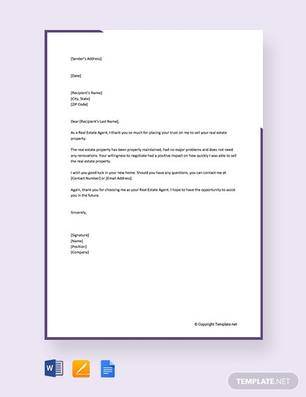 FREE Real Estate Thank You Letter To Seller Template: Download