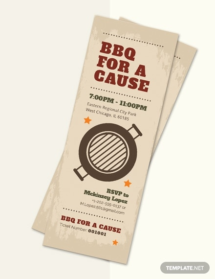 bbq fundraiser ticket template in template in adobe photoshop