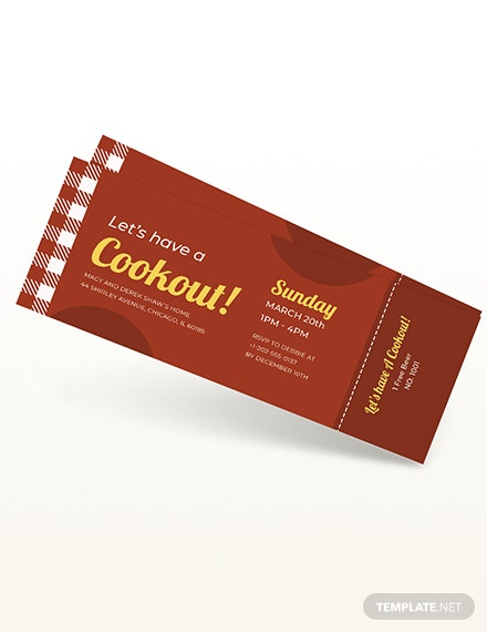 BBQ Party Cookout Ticket Download