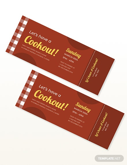 Sample BBQ Party Cookout Ticket