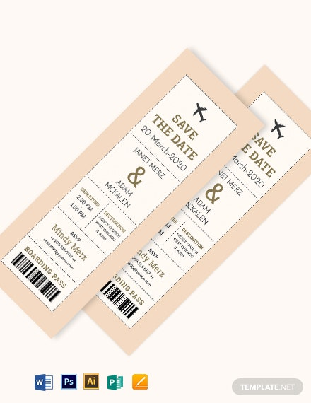Boarding Pass Ticket Wedding Invitation Template Download 241