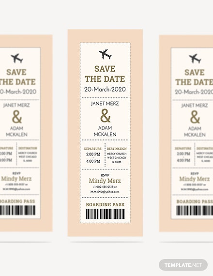 Sample Boarding Pass Ticket Wedding Invitation