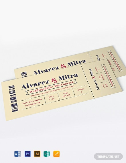Concert Ticket Wedding Invitation Template