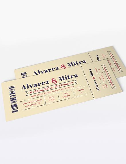 Concert Ticket Wedding Invitation Template