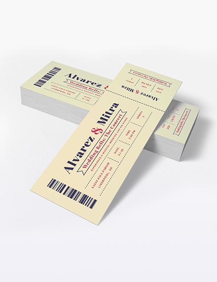 Sample Concert Ticket Wedding Invitation
