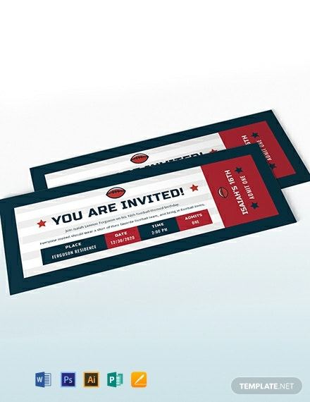 Football Ticket Birthday Invitation Template