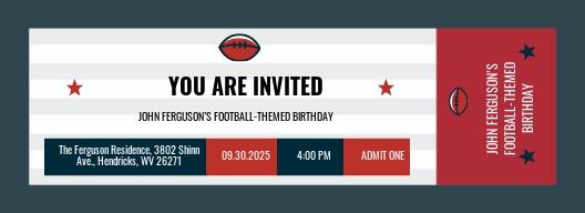 Football Ticket Birthday Invitation Template