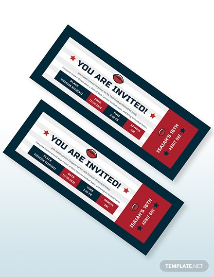 Sample Football Ticket Birthday Invitation