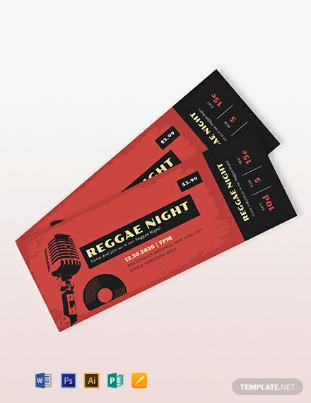 Music Concert Event Ticket Template