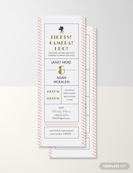 Wedding Invitation Movie Ticket Template In Adobe Photoshop