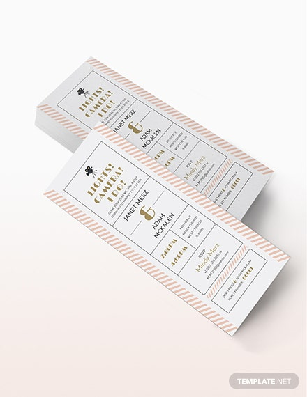 Wedding Invitation Movie Ticket template