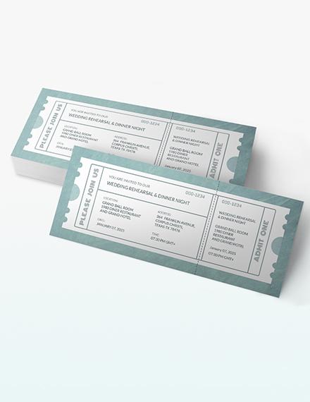 Sample Wedding Rehearsal Dinner Ticket