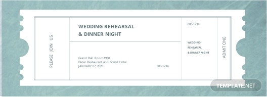 Wedding Rehearsal Dinner Ticket Template