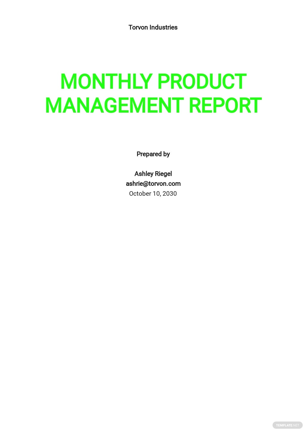 Monthly Product Management Report Template