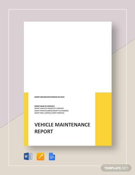 Vehicle Maintenance Report Template
