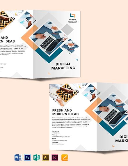 Marketing Agency Bi-Fold Brochure Template