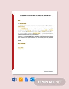 Free Complaint Letter Against An Employee Misconduct
