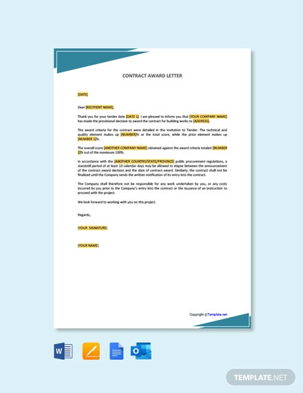 Free Contract Award Letter