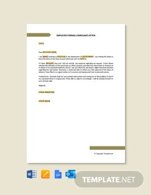 Free Employee Formal Complaint Letter