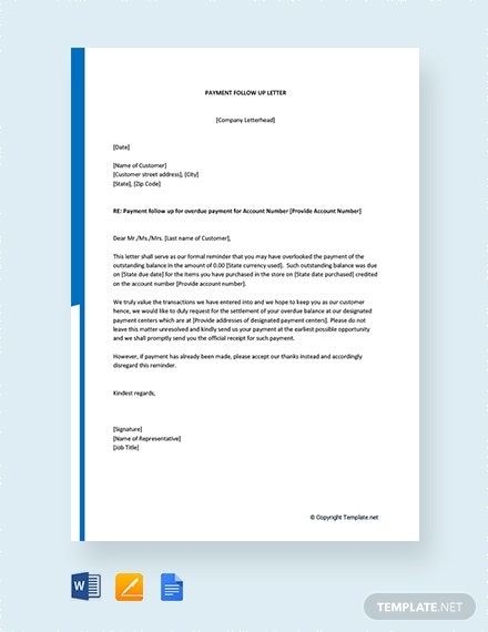Free Payment Follow up Letter