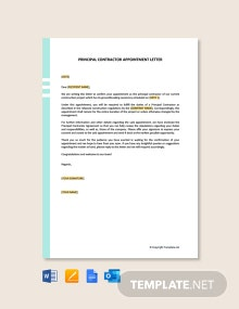 Free Principal Contractor Appointment Letter