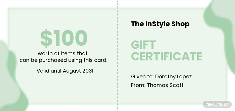 Fashion Store Gift Certificate Template