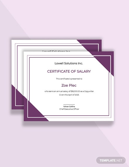Free Salary Certificate Letter