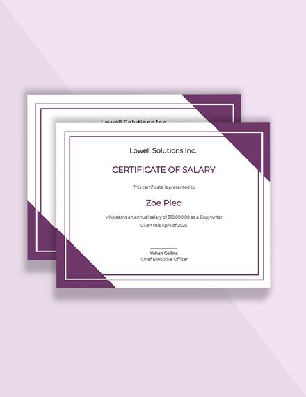 Editable Free Salary Certificate Letter