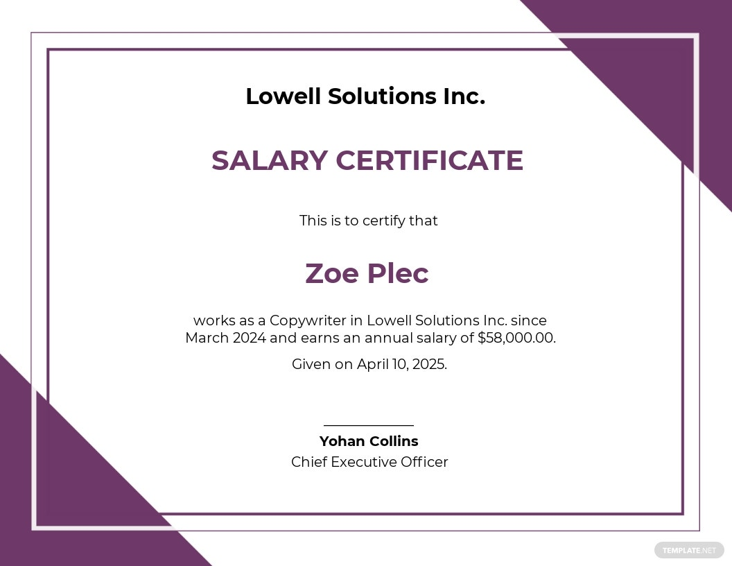Salary Certificate Letter