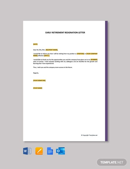 Early Retirement Resignation Letter Template [Free PDF] - Google Docs, Word