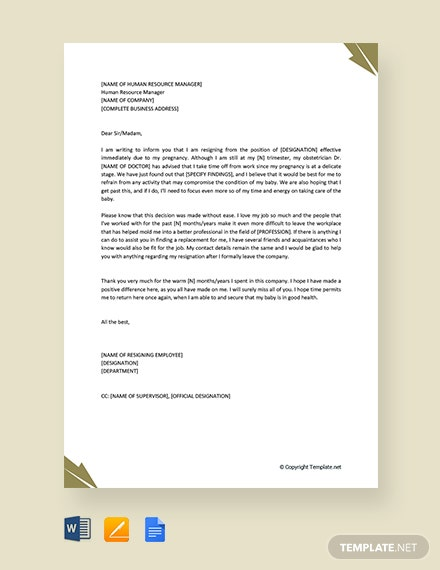 Free Resignation Letter Due to Pregnancy Effective Immediately