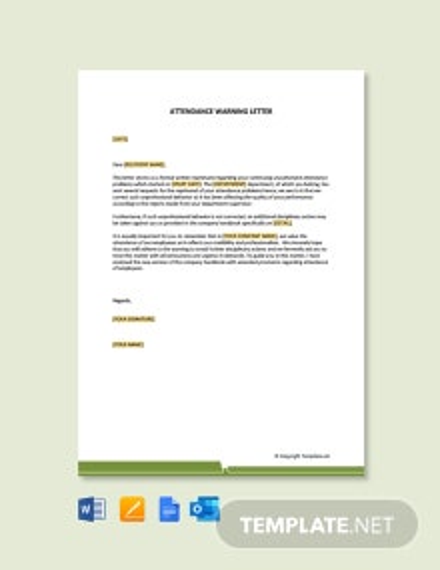 Free Attendance Warning Letter