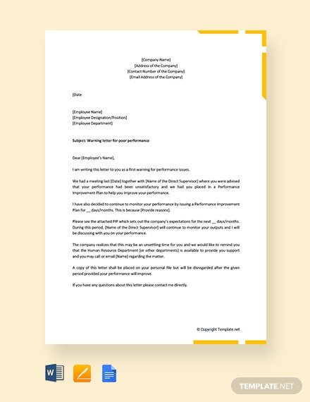 Free First Warning Letter