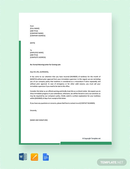 late coming application letter