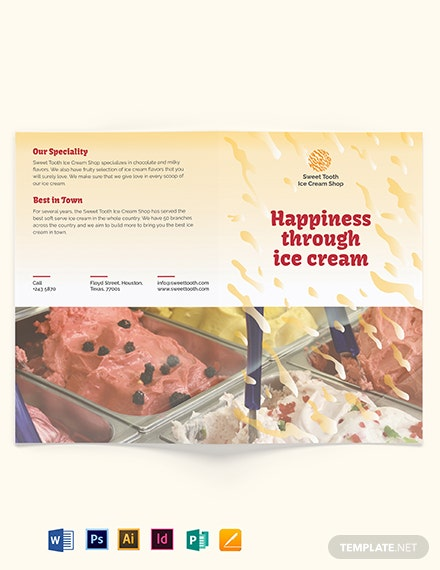 Ice Cream Bi fold Brochure Template