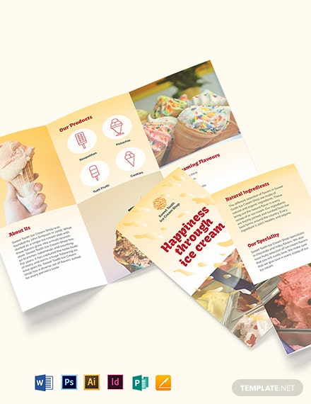 Ice Cream Tri fold Brochure Template
