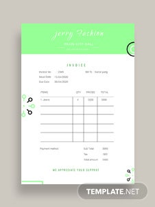 Free Fashion Store Invoice Template
