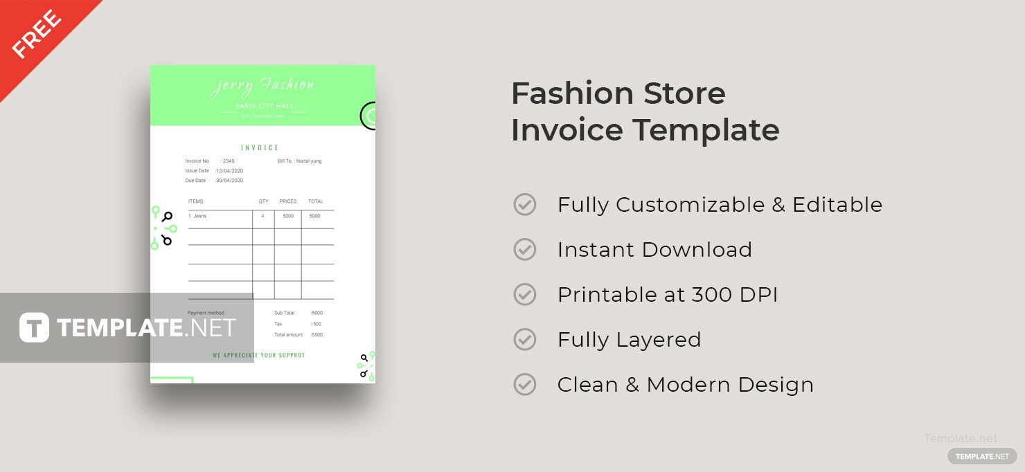 Fashion Store Invoice Template
