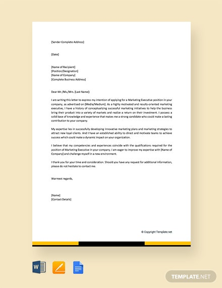 Free Marketing Executive Job Application Letter