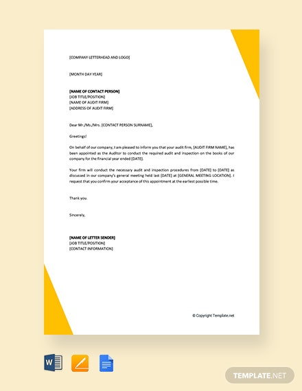 FREE Auditor Appointment Letter Template - Word | Google ...