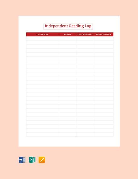 Free Blank Independent Reading Log